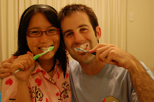 16: Together we brush Yes, hubby and I brush our teeth together before going to bed (or work). It's our little ritual and it makes brushing teeth so much more fun! To read the rest of my babble click the image. task 15 complete. - part of my joy of LOVE -