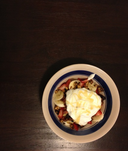 Day One: Breakfast -Home made paleo granola, fruits cut with love by the boy & topped with a dollop of yogurt & adrizzle of honey.